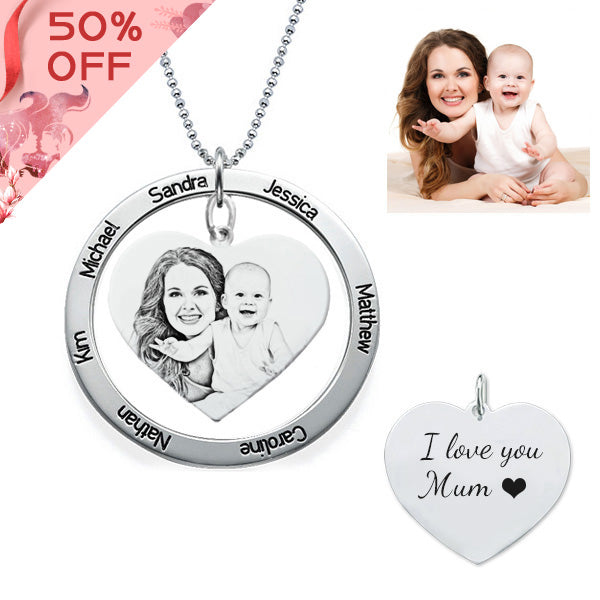 Personalized Photo Necklace With Carved Names