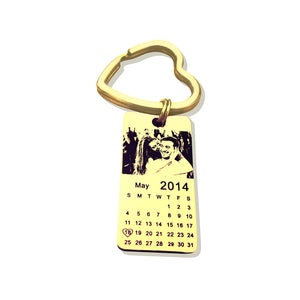 Free Engraving Lovers Calendar Keychain