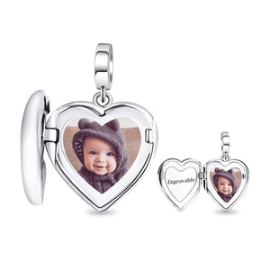 Engraved Silver Photo Locket Heart Charm