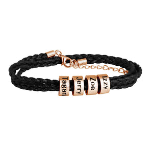 Men Bracelet with Small Custom Beads in Rose Gold Plated(1-8 beads)