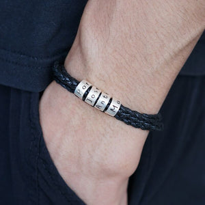 Father's Day Gift!Men Bracelet with Small Custom Beads(1-8 beads)in Sterling Silver