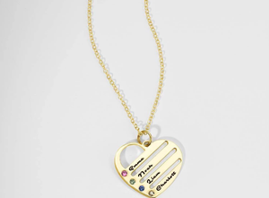 Engraved Heart Birthstone Necklace with Copper