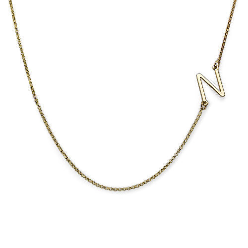 Two Sideways Initial Necklaces in 18k Gold Plating