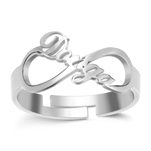 Infinity Name Ring Platinum Plated Silver