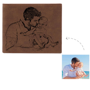 Personalized Photo Engraving Leather  Wallet In Brown