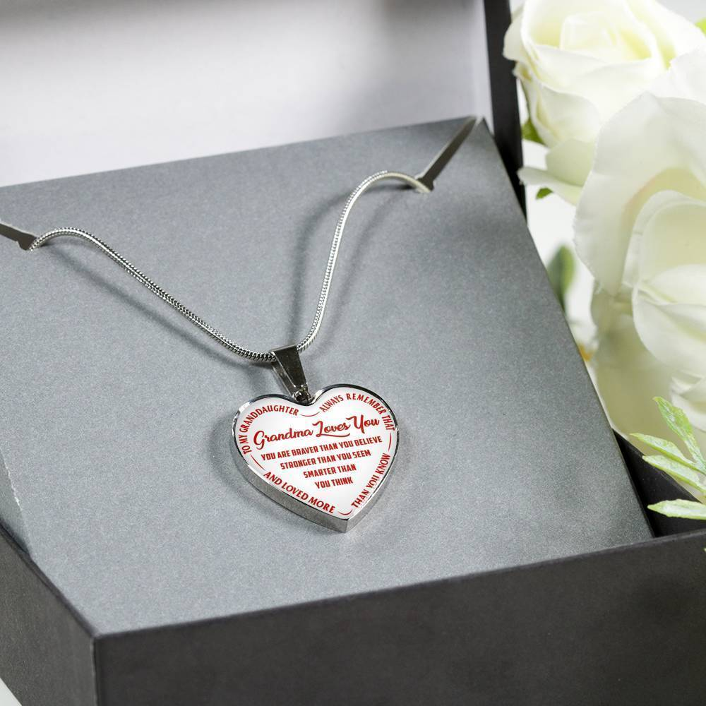 To My Granddaughter Heart Shaped Necklace-always remember that,grandma loves you