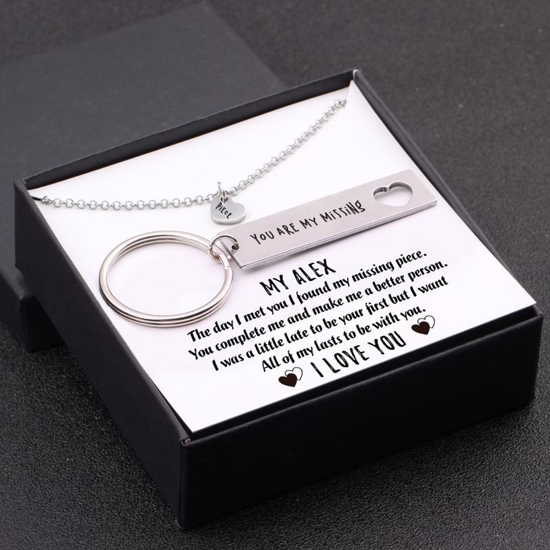 My Man - I Want All Of My Lasts To Be With You - Heart Necklace & Keychain Gift Set