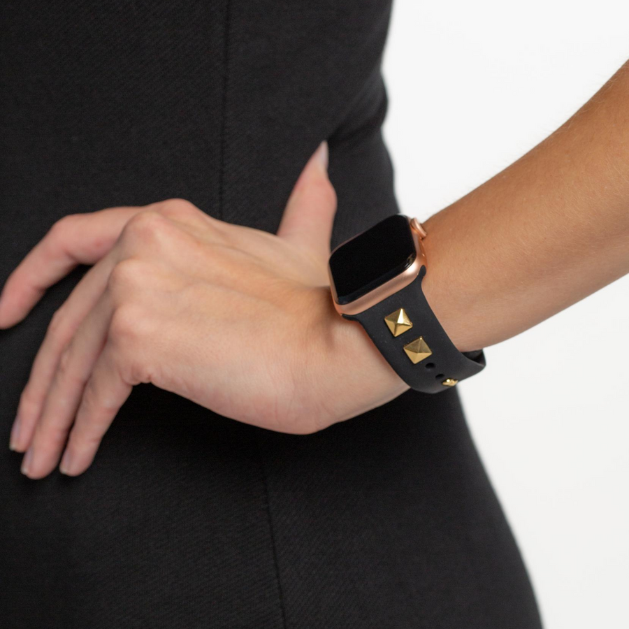 Pyramid Stud Silicone Apple Watch Band - Black - Memebands