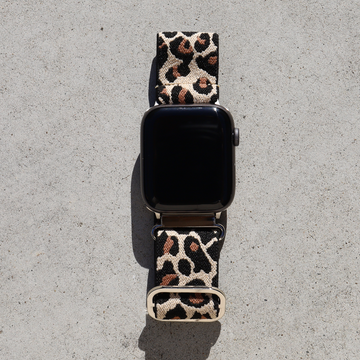 Elastic Apple Watch Band with Adjustable Loop - Beige Leopard - Memebands