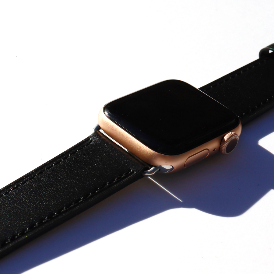 Night Black Apple Watch Leather Band - Memebands