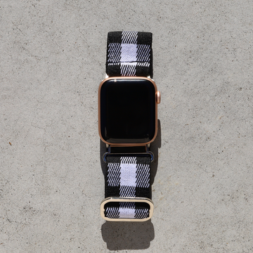 Elastic Apple Watch Band with Adjustable Loop - Black Plaid - Memebands