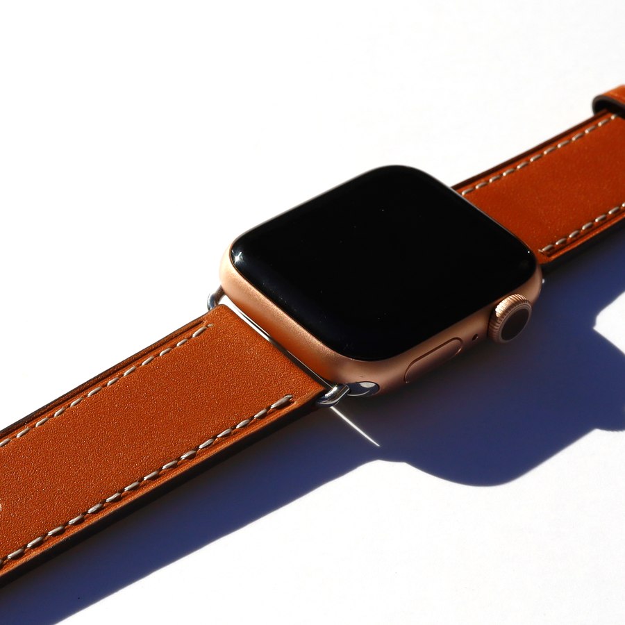 Cognac Brown Apple Watch Leather Band - Memebands