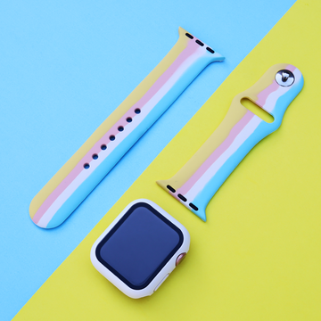 Multicolor Striped Silicone Apple Watch Band Cotton Candy - Memebands
