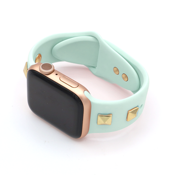 Gold Pyramid Stud Silicone Apple Watch Band  - Mint - Memebands