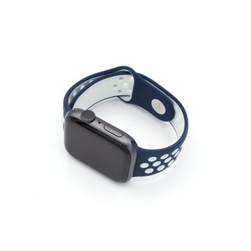 Sport Silicone Apple Watch Band - Navy/White - Memebands