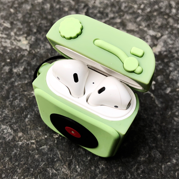 Olive Turntable AirPods Case with Ring - Memebands