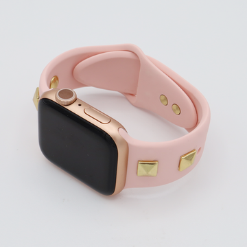 Pyramid Stud Silicone Apple Watch Band - Pink - Memebands