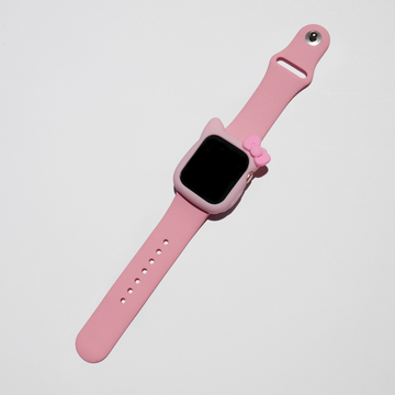Kitty Silicone Apple Watch Case - Pink with Pink Ribbon - Memebands