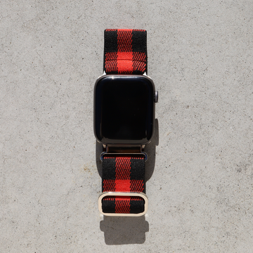 Elastic Apple Watch Band with Adjustable Loop - Red Plaid - Memebands