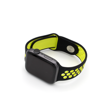 Sport Silicone Apple Watch Band - Black/Neon Yellow - Memebands