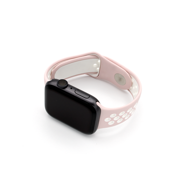 Sport Silicone Apple Watch Band -Pink/White - Memebands