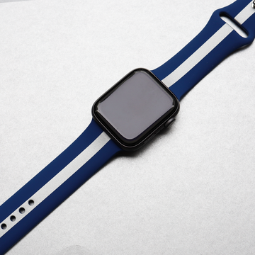 Silver Blue Striped Silicone Apple Watch Band - Memebands