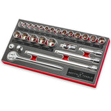 "3/8"" DRIVE METRIC SOCKET AND RATCHET SET - 26 PC"