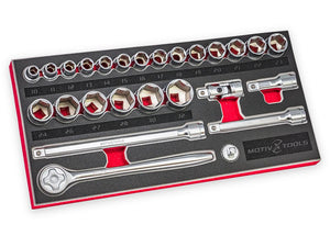 "1/2"" DRIVE METRIC SOCKET AND RATCHET SET - 26 PC"