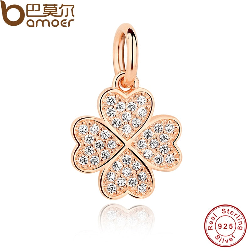 925 Sterling Silver Symbol Of Lucky In Love,  Rose Gold Color & Clear CZ Four-Leaf Clover Pendant Charms Fit Bracelet PAS210