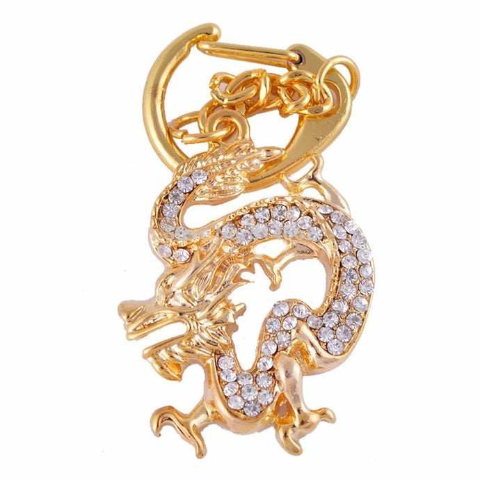 feng shui Bejeweled Golden Dragon Amulet KeyChain+Gift Box W1167