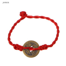 Load image into Gallery viewer, 1 Piece Chinese Feng Shui Wealth Luck Coin Copper Pendant Adjustable Red String Bracelet Jewelry