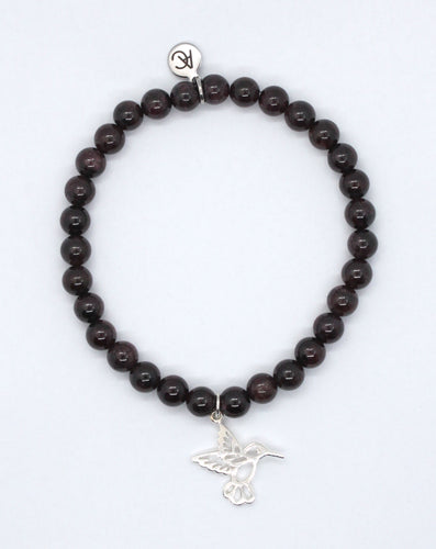 Garnet Stone Bracelet with Sterling Silver Hummingbird Charm