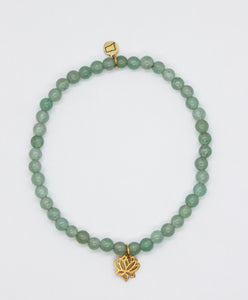 Green Aventurine Stone Stretch Bracelet with Gold Vermeil Lotus Charm