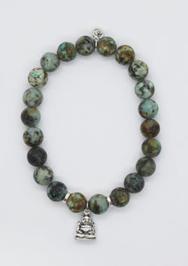 Matte African Turquoise Stone Bracelet with Sterling Silver Happy Buddha Charm