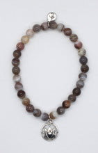Load image into Gallery viewer, Botswana Agate Stone Bracelet with Sterling Silver Lotus Charm