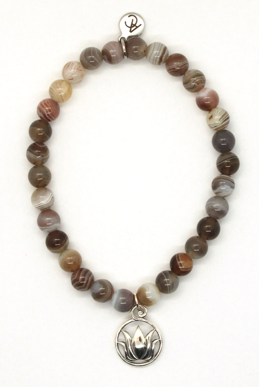 Botswana Agate Stone Bracelet with Sterling Silver Lotus Charm