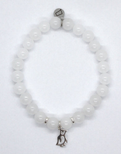 Snow Quartz Stone Bracelet with Sterling Silver Penguin Charm