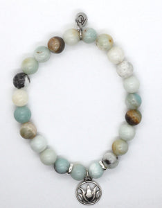 Amazonite Stone Bracelet with Sterling Silver Lotus Charm