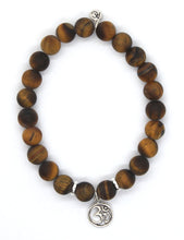 Load image into Gallery viewer, Tiger's Eye Stone Bracelet with Sterling Silver Om Charm