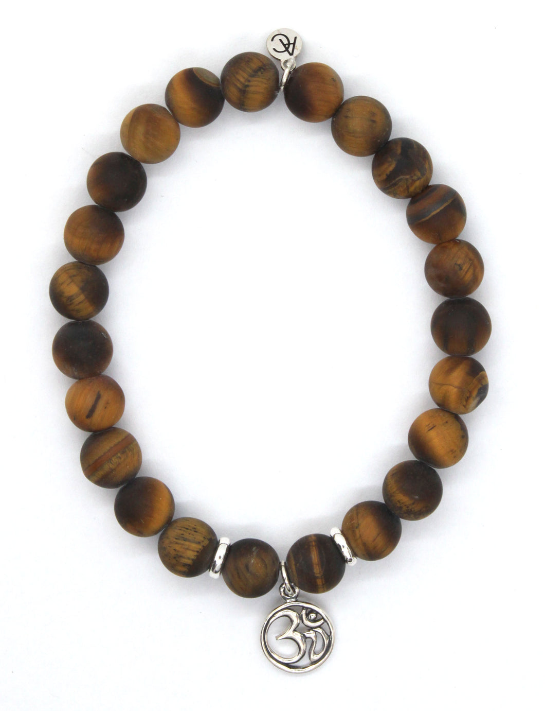 Tiger's Eye Stone Bracelet with Sterling Silver Om Charm