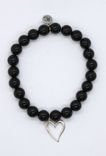 Load image into Gallery viewer, Black Agate Stone Bracelet with Sterling Silver Heart Charm