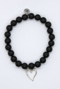 Black Agate Stone Bracelet with Sterling Silver Heart Charm
