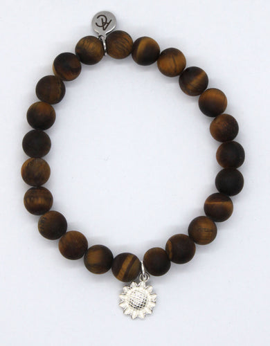 Tiger's Eye Stone Bracelet with Sterling Silver Sunflower Charm