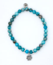 Load image into Gallery viewer, Crazy Lace Agate Stone Bracelet with Sterling Silver Mandala Charm