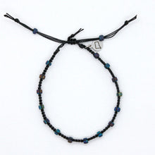 Load image into Gallery viewer, Matte Peacock Seed Bead Macrame Minimalist Bracelet with Black Cord