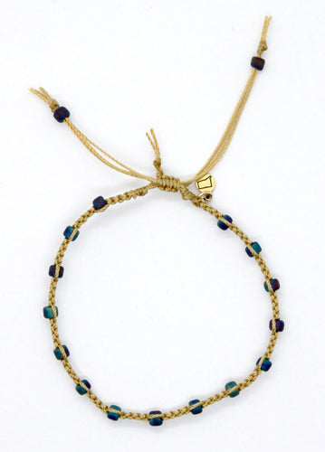 Matte Peacock Seed Bead Macrame Minimalist Bracelet with Sand Cord