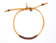 Load image into Gallery viewer, Rainbow Matte Amber Delica Bead Minimalist Bracelet with Marigold Cord