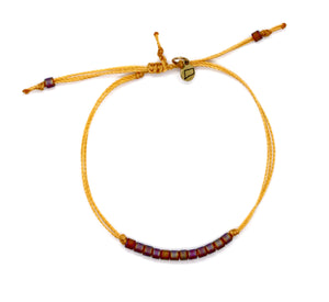 Rainbow Matte Amber Delica Bead Minimalist Bracelet with Marigold Cord