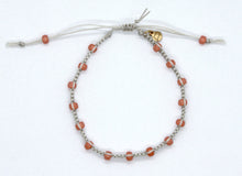 Load image into Gallery viewer, Silver Lined Opal Peach Seed Bead Macrame Minimalist Bracelet with Light Beige Cord