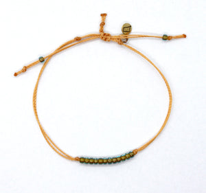 Sparkly Green Lined Transparent Aqua Seed Bead Minimalist Bracelet with Marigold Cord